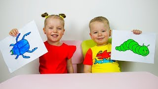 Educational activitiy for children with Finger Paints and Coloring