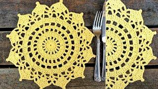 Crochet Sunshine Doily Placemat Tutorial