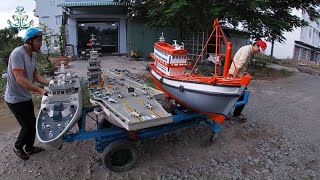 Tàu Sân Bay Tàu Hộ Vệ Và Tàu Cá Chạy Trên Sông Khán Giả Reo Hò Thích Thú (p1)