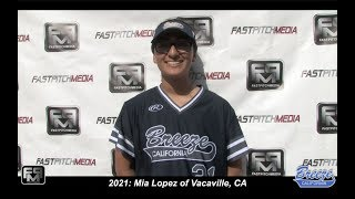 2021 Mia Lopez Power Hitting Third Base and Outfield Softball Skills Video - CA Breeze