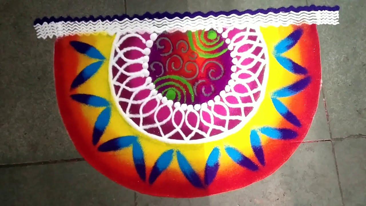 easy and colorful sanskar bharti rangoli design by jyoti
