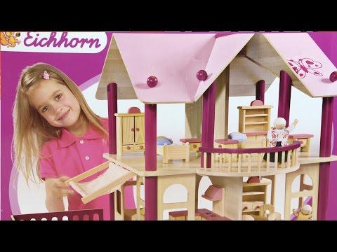 Puppen-Villa mit Möbeln und Figuren / Piętrowa Willa dla Lalek - Eichhorn - www.MegaDyskont.pl