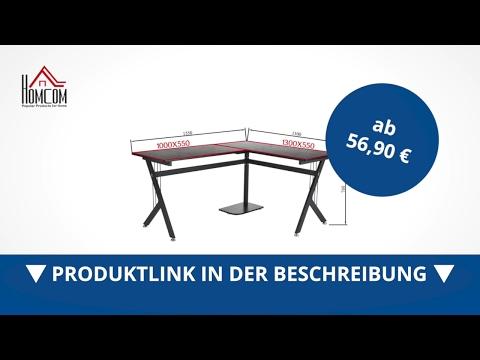Homcom Computertisch Winkelschreibtisch Schreibtisch Bürotisch Schwarz - direkt kaufen!