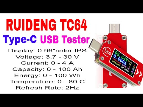 RUIDENG TC64 Color Screen USB-C Type Tester for Voltage, Current, Capacity & Energy Measurement