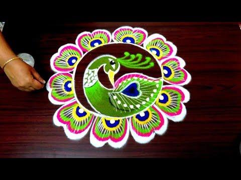 beautiful peacock rangoli design by simple rangoli