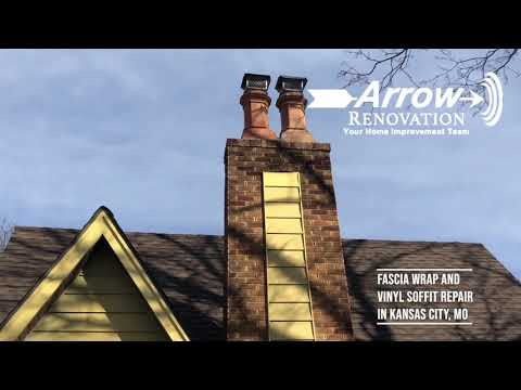 Arrow Renovation had a project in Kansas City, MO which was a repair of siding that included installing pvc fascia wrap and also vinyl soffit.