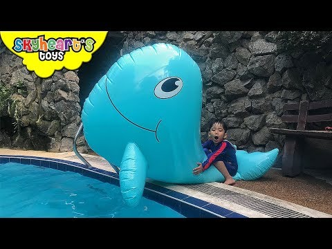 Toddler caught a GIANT WHALE and SWORDFISH | Skyheart attack swimming shark toys kids