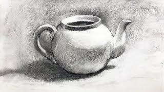 Still Life #101 - Drawing From Observation Of A Teapot In Charcoal