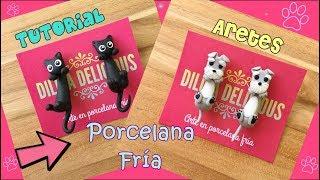 Aretes De Gatito Y Perrito Porcelana Fría/ Porcelanicron/ Pasta Flexible