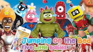 YO GABBA GABBA Super Heroes Five Little Babies JUMPING ON THE BED ♥Toy Nursery Rhyme♥