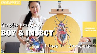 NEW acrylic painting- Boy and insect-2  (with sub)【PAINTING TIME-LAPSE】