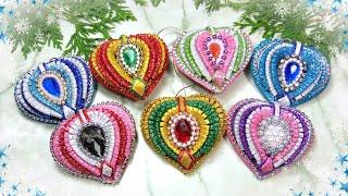 Красивые ёлочные игрушки сердечки из фоамирана /   diy beautiful christmas ornaments glitter foam