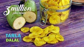 Yellow Banana Chips, Banana Wafers, Raw Banana Wafers by Tarla Dalal