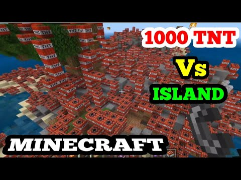 MINECRAFT   1000 TNT VS ISLAND   Treasure Map DHOKA   CREATIVE MODE