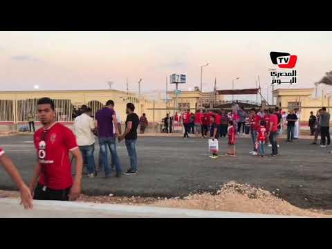 وسط تعزيزات أمنية ..لحظة دخول جماهير «الأهلي» استاد «برج العرب» قبل المواجهة الأفريقية