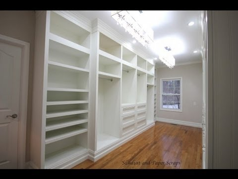 Building built-in wardrobe cabinets in walk-in master closet