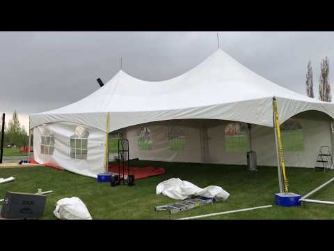20x60 High Peak Tent Setup - Quick Overview Mid-Job