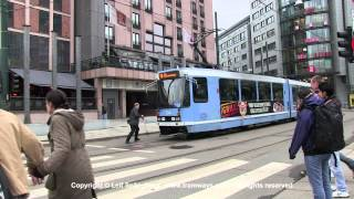 preview picture of video 'Oslo Tram 104 at Jernbanetorget, Oslo, Norway'