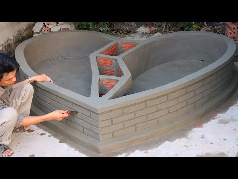 Garden Designs | Setup 2 in 1 Heart Aquarium with Cement and Brick