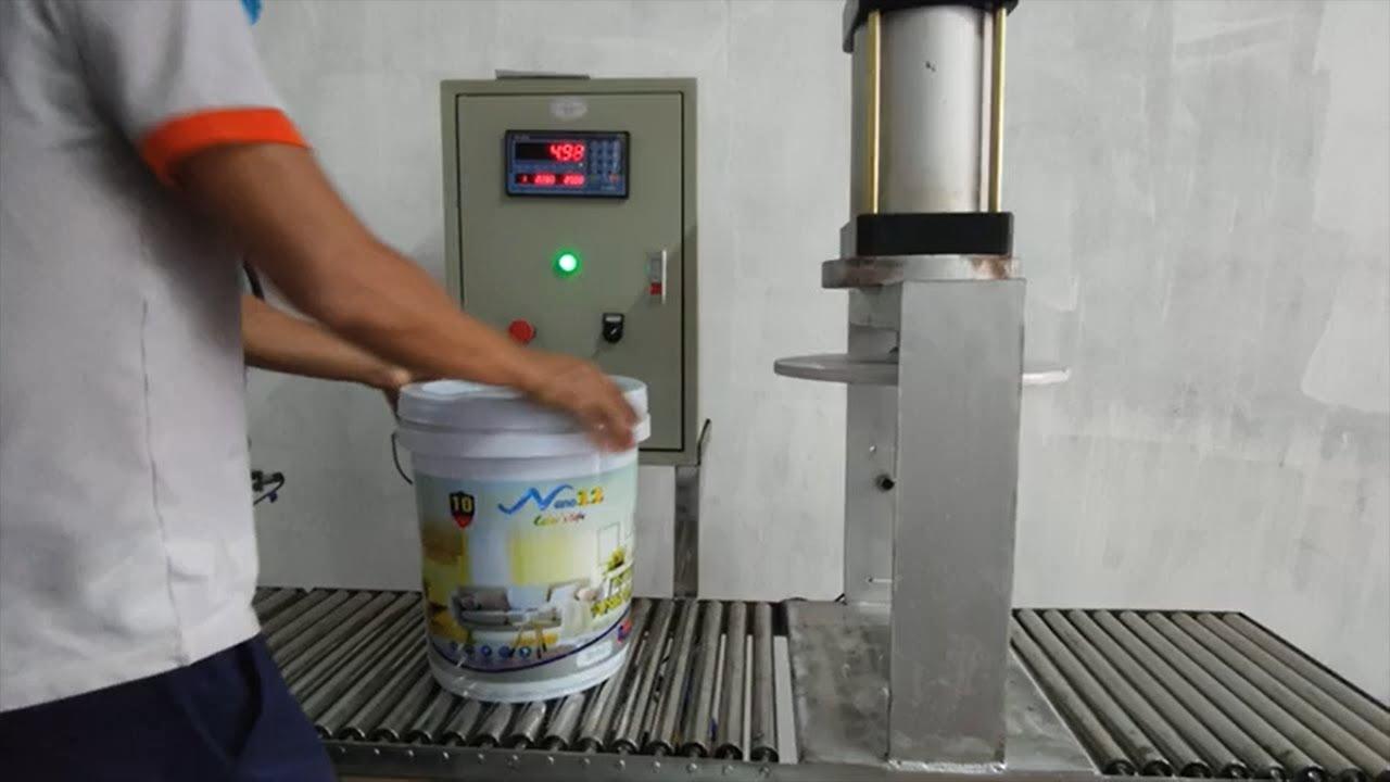 Dây chuyền đóng nắp thùng sơn tự động khí nén