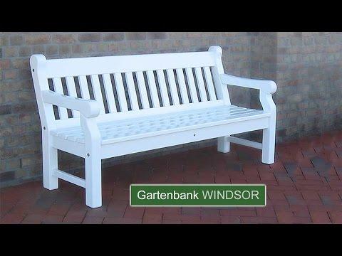 Englische Gartenbank WINDSOR - Hartholz weiss - 25 Jahre Garantie.
