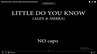 Little Do You Know   Alex And Sierra ( Easy Chords And Lyrics)