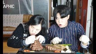 [ENG] 일상: 엄마가 스테이크 먹고 싶다고 하셔서... 3 Kg 스테이크^^
