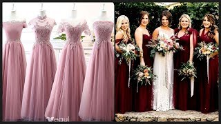 Top Trending A Line Long Gown Chiffon Bridesmaids Dresses// Wedding Party Dresses 2019-2020