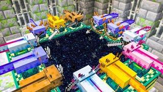 minecraft, mas 100 axolotls vencem o jogo para você