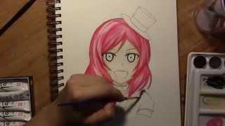 Maki Nishikino  - (Love Live!) - Drawing/ Watercoloring Maki Nishikino from Love Live School Idol Project!