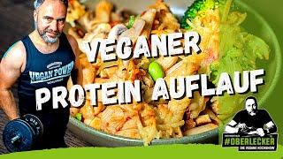 Veganes 2 Gänge PROTEIN-MENÜ. Oberleckerer Nudelauflauf & schlanker Schokopudding.