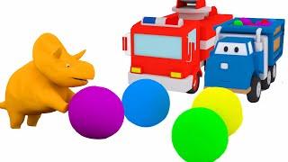 Bälle und Trampolin : Lerne Fahrzeuge mit Dino dem Dinosaurier   Lehrreiche Cartoons für Kinder 🦕🎨