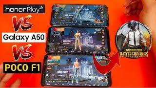 Samsung A50 VS Poco F1 VS Honor Play PUBG Gaming Review & Comparison !!!