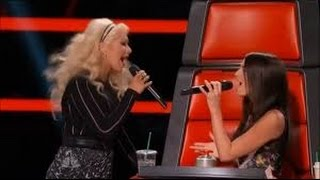 4k UHD The Voice 2015 Backstage Scene After Christina Aguilera ft. Caitlin Caporale (Impossible)