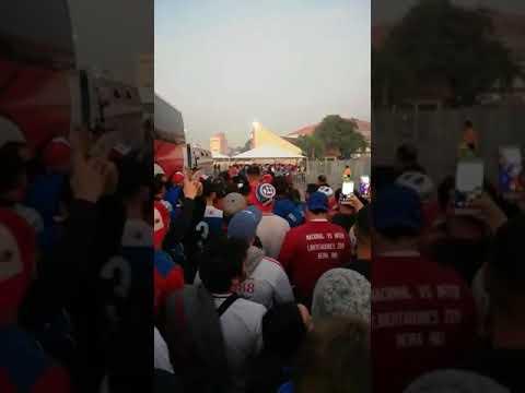 """""""La hinchada del Bolso ingresando al Beira Río. Libertadores 2019"""" Barra: La Banda del Parque • Club: Nacional • País: Uruguay"""