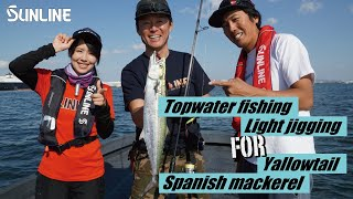 Topwater and Light jigging for Yallowtail and Spanish mackerel in Osaka Bay, Japan.