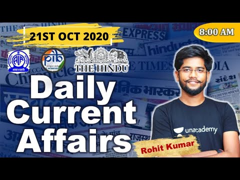 Daily Current Affairs (21st October 2020) | IBPS/SBI/RBI/RRB | Mains | Rohit Kumar