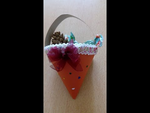 Bucket-cone for sweets (on the Christmas tree) / Ведёрко-конус для конфет (на ёлку)