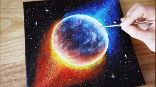 Black Canvas Painting Tutorial | Galaxy Planet | Acrylic Painting Tutorial For Beginners #72