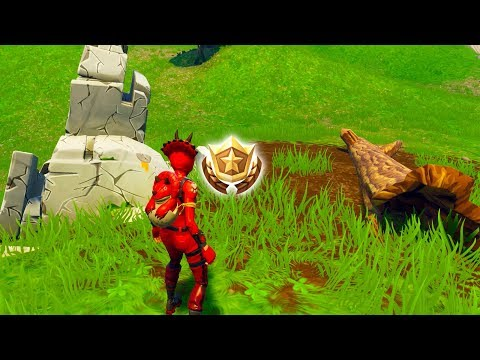 "Search between a Stone Circle, Wooden Bridge, and a Red RV"" Location Fortnite Week 10 Challenges!"