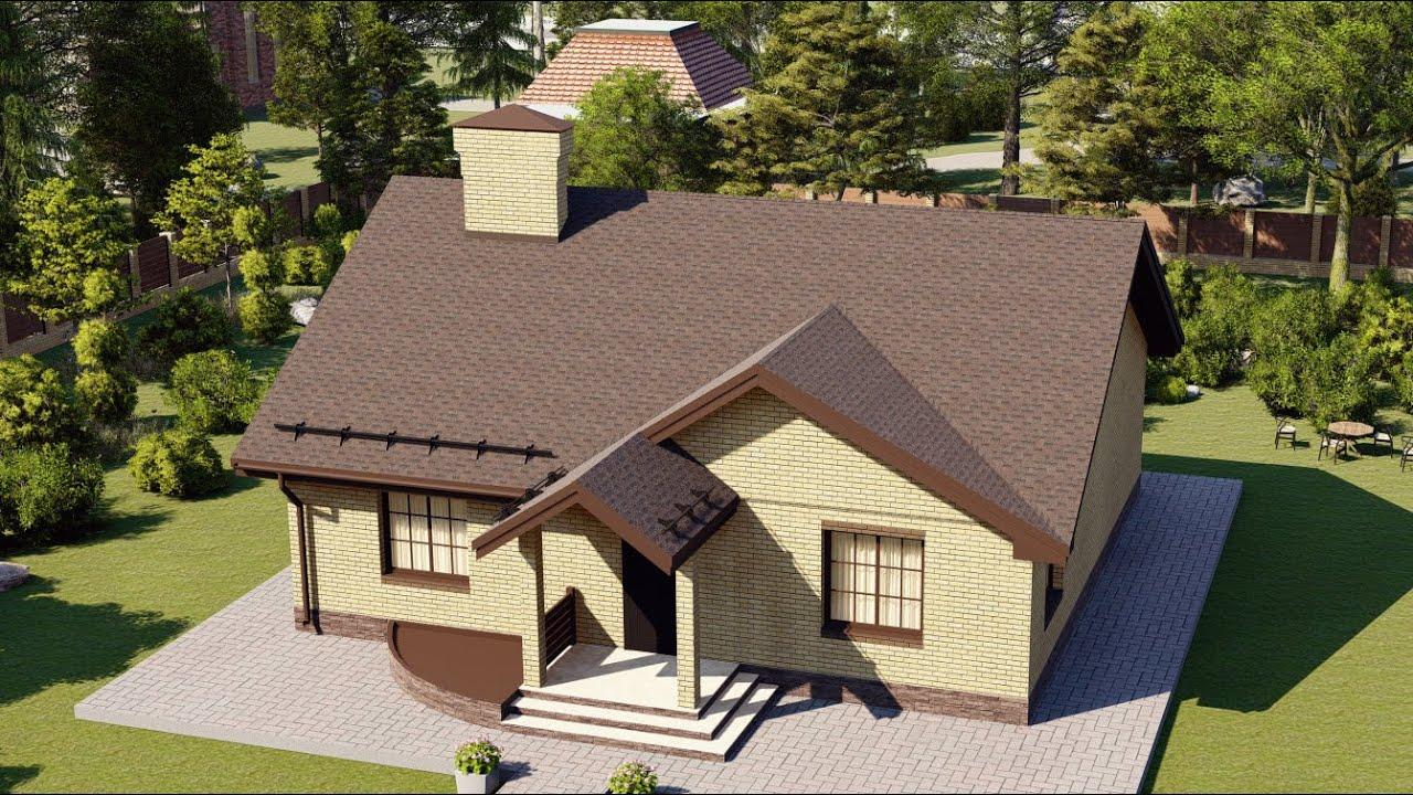 1 этажный дом из пеноблока с удобной планировкой