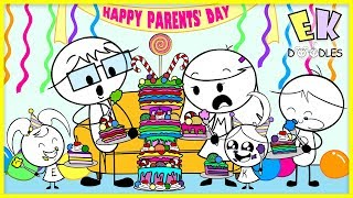 BAKING CHALLENGE for PARENTS' DAY ! EK Doodles bake cakes for Mommy & Daddy!