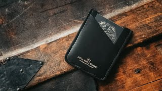 MAKING A HANDMADE BLACK LEATHER MINIMALIST CARD WALLET - ASMR
