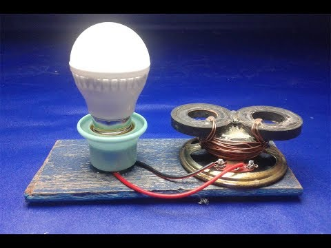 DIY free energy electricity using speaker magnets with light bulbs  – New ideas 2018