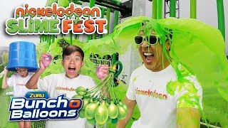 WE GOT SLIMED AT NICKELODEON SLIMEFEST!!! Bunch O Balloons Challenge!