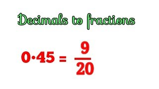 Convert Decimals to fraction in hindi