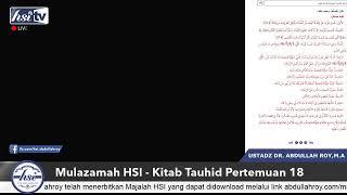 Mulazamah HSI – Kitab Tauhid Pertemuan 18