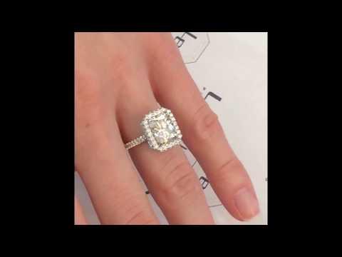 9x7 mm Radiant Moissanite Halo Engagement Ring