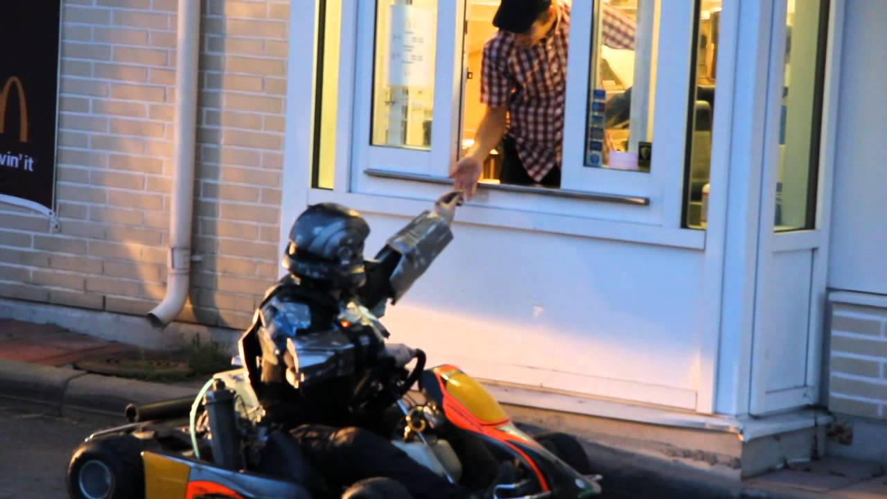 Ever See A Halo ODST Drive Through McDonalds In A Go-Kart Before?