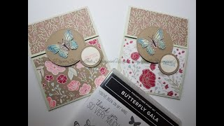 Stampin' Up! Butterfly Gala Stamp Set and Punch Fun Fold Card for Bridal Shower